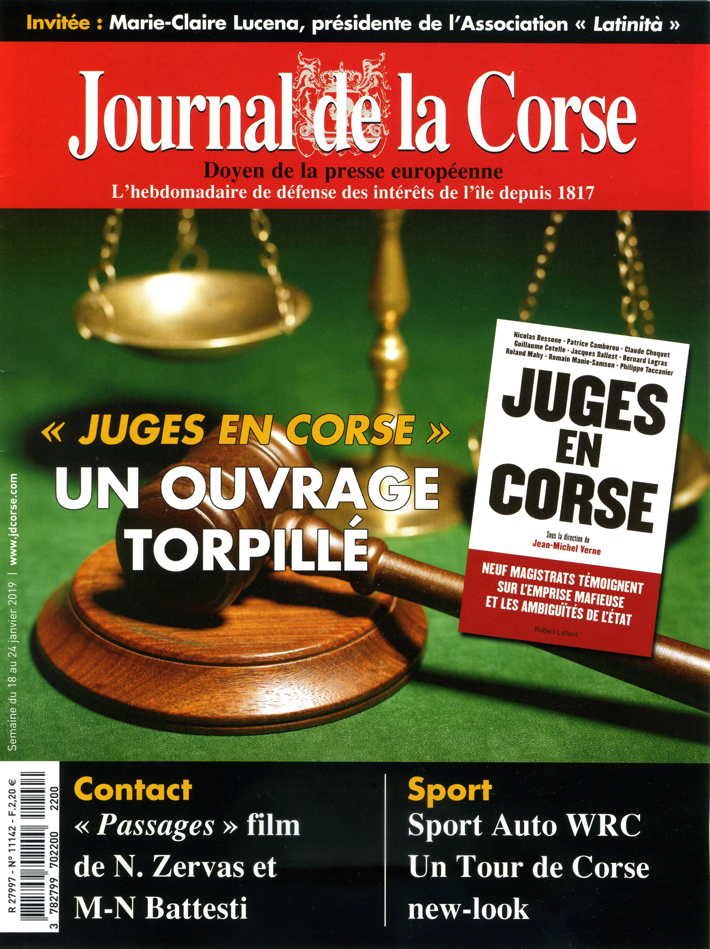 Article dans le Journal de la Corse - 1/2019